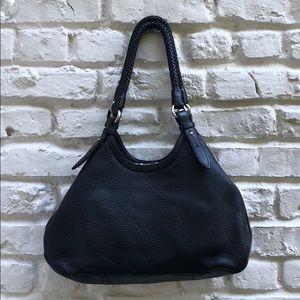 COLE HAAN Black Pebble Leather Shoulder Bag